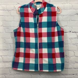 Bait Zip-up Soft Fleece Checked Vest Size L